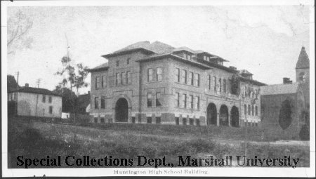 Huntington high school building, ca. 1910