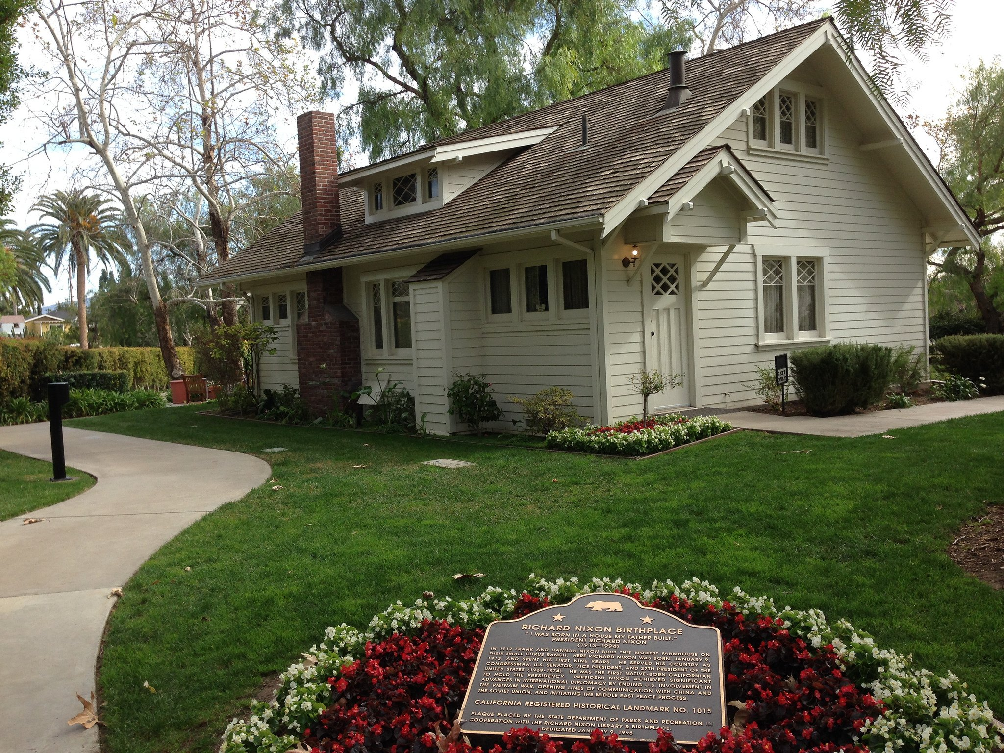 Nixon's boyhood home, where he was born in 1913, is located on the grounds and has been restored to its original condition