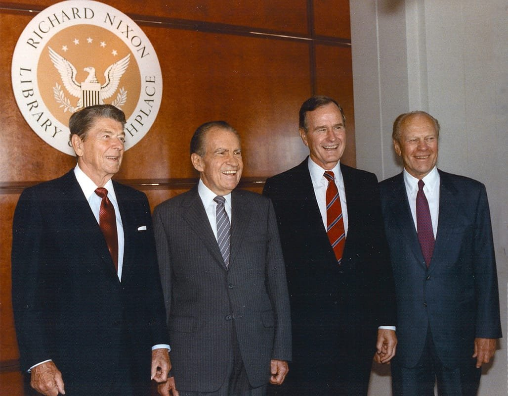 Ronald Reagan, Richard Nixon, George H.W. Bush, and Gerald Ford attending the opening of the Richard Nixon Library, July 19, 1990