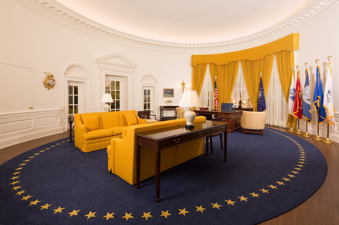 The replica of Nixon's Oval Office on view at the Nixon Library