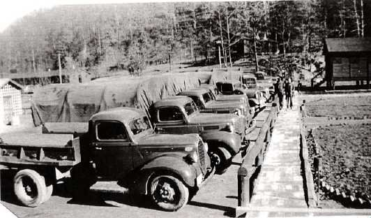 Part of the CCC's fleet of trucks used to mobilize Camp Kanawha.