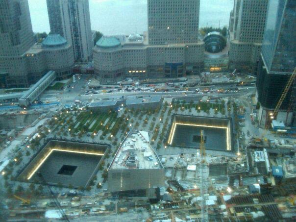 Aerial view of the 9/11 museum