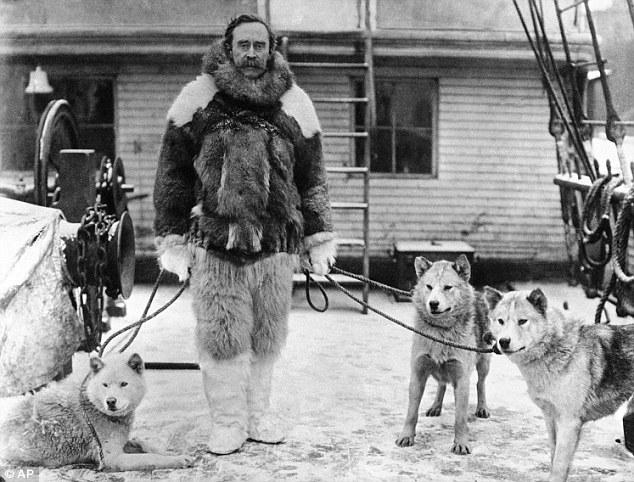 Admiral Peary with his sled dog companions.
