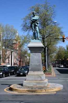 The statue is located in the middle of the intersection of South Washington Street and Prince Street in Old Town.