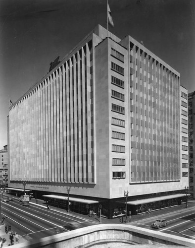 A black and white shot of the building.