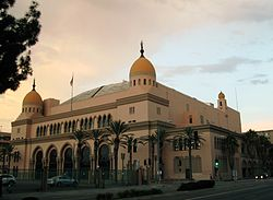 A shot of the Shrine Auditorium during sunset.