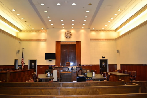 A shot of Courtroom 8 in the Court House.
