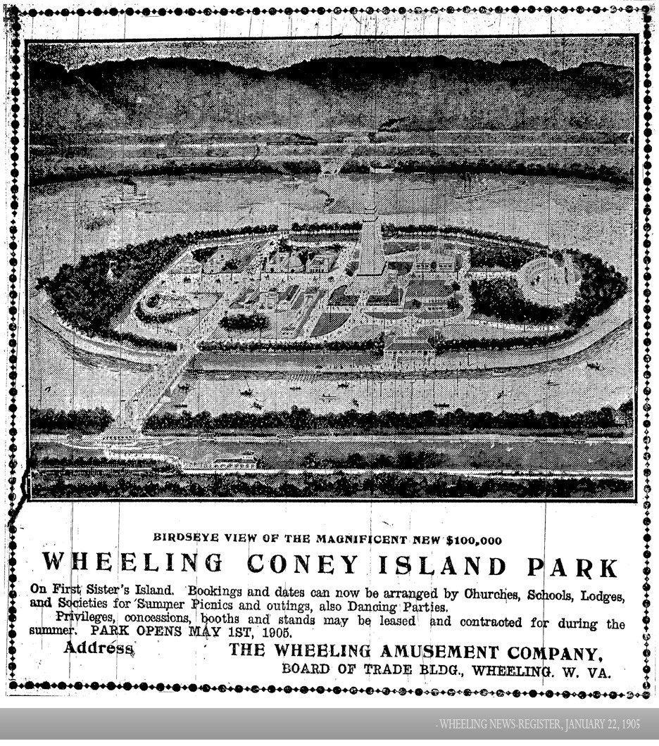 Concept drawing of Wheeling Coney Island Park as it appeared in the Wheeling News-Register, 2 January 1905, courtesy of the Ohio County Public Library