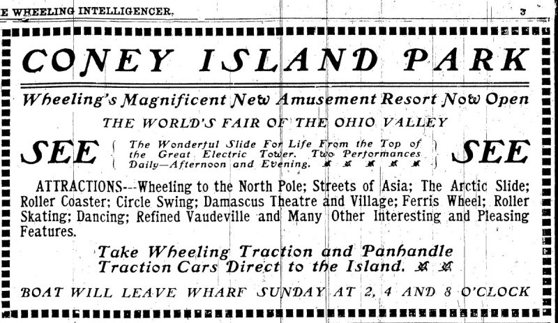 Advertisement for Coney Island in the Wheeling Intelligencer, 10 June 1905, courtesy of the Ohio County Public Library
