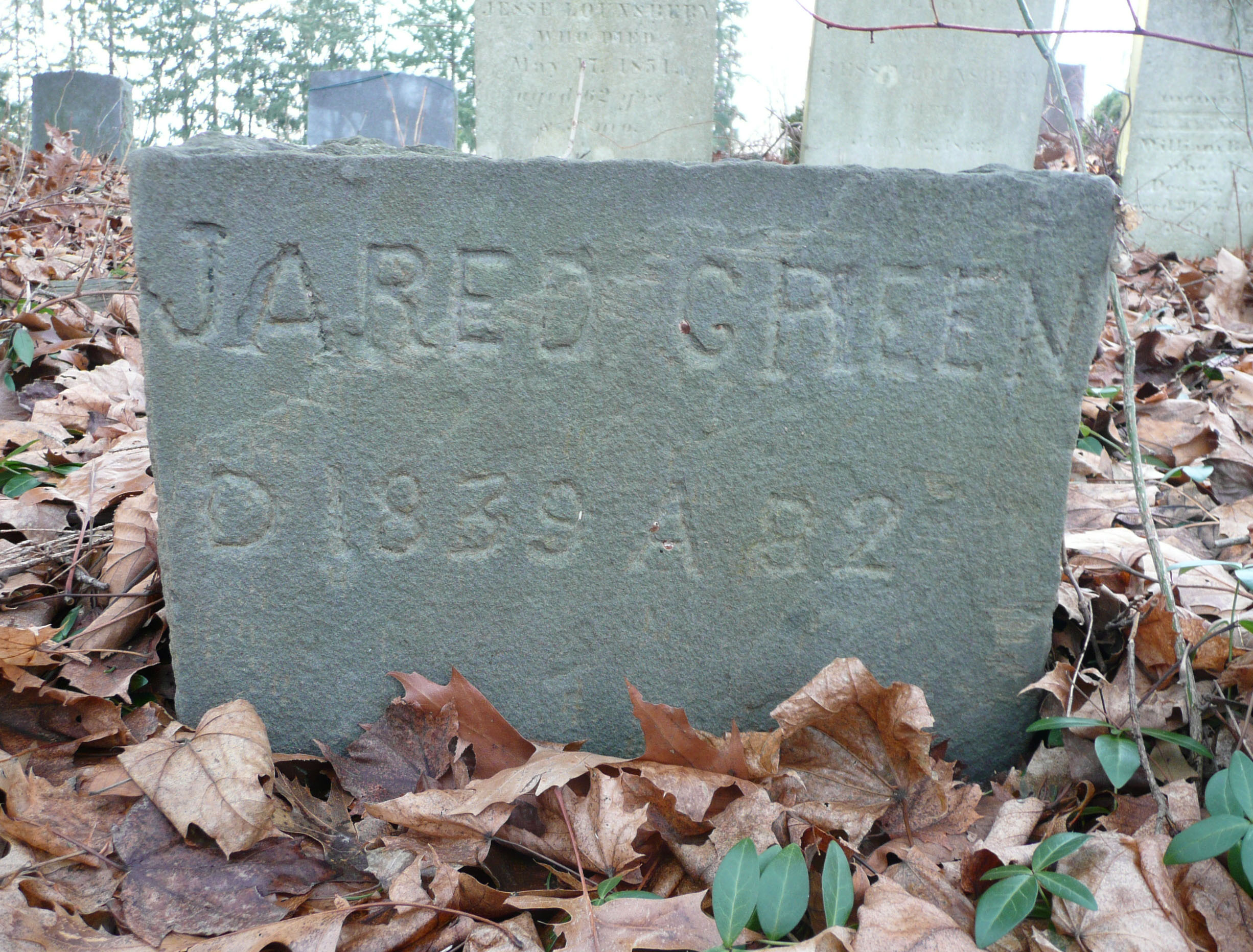 The tombstone of Jared Green, who died in 1839 at the age of 82, at the Amawalk Friends Meeting House Cemetery.