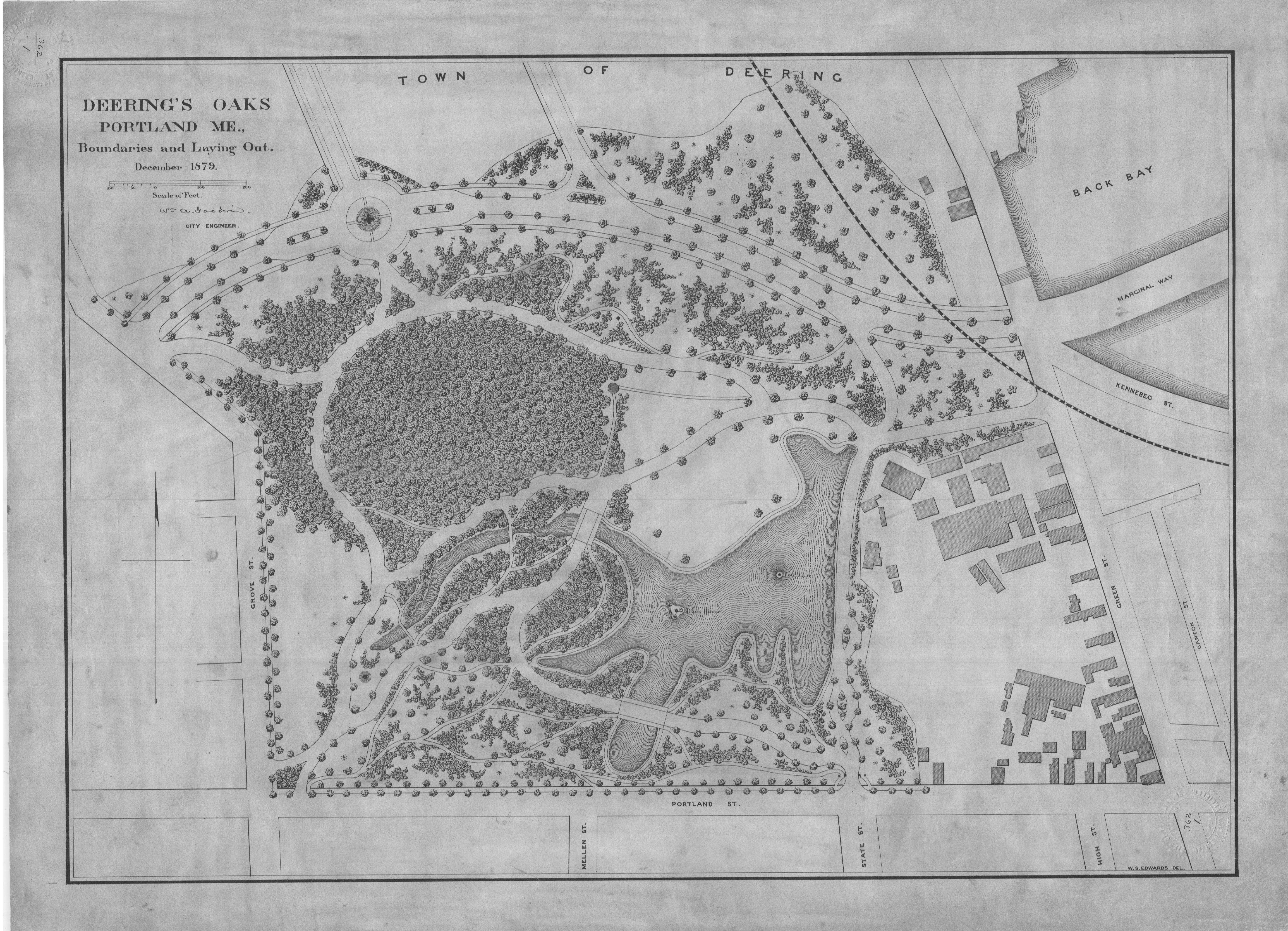 The 1879 map of Deering Oaks, made available by the Friends of Deering Oaks