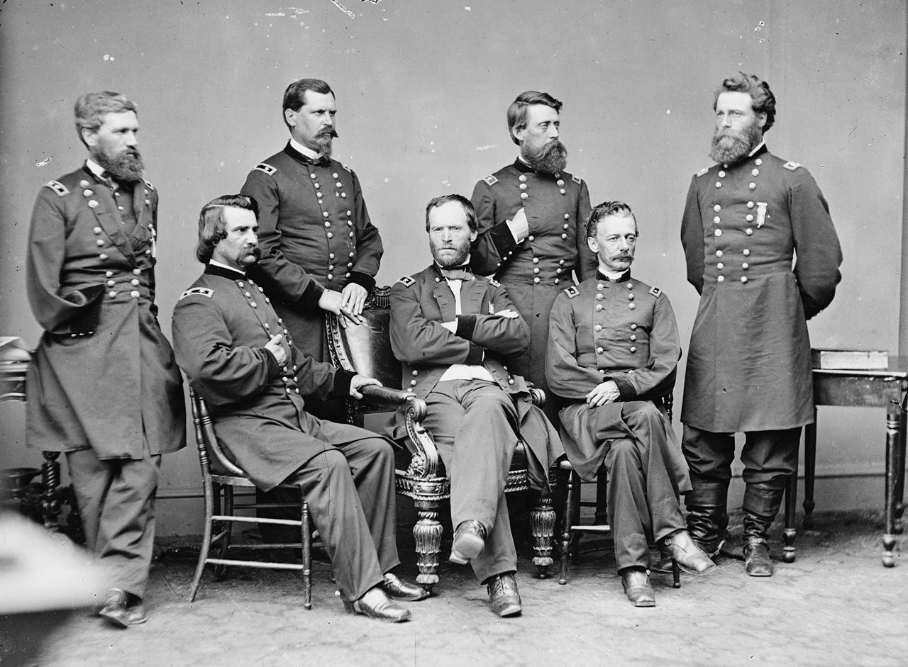 General William T. Sherman (seated center) and his general staff prior ro the Atlanta Campaign. General John A. Logan is seated on the far left