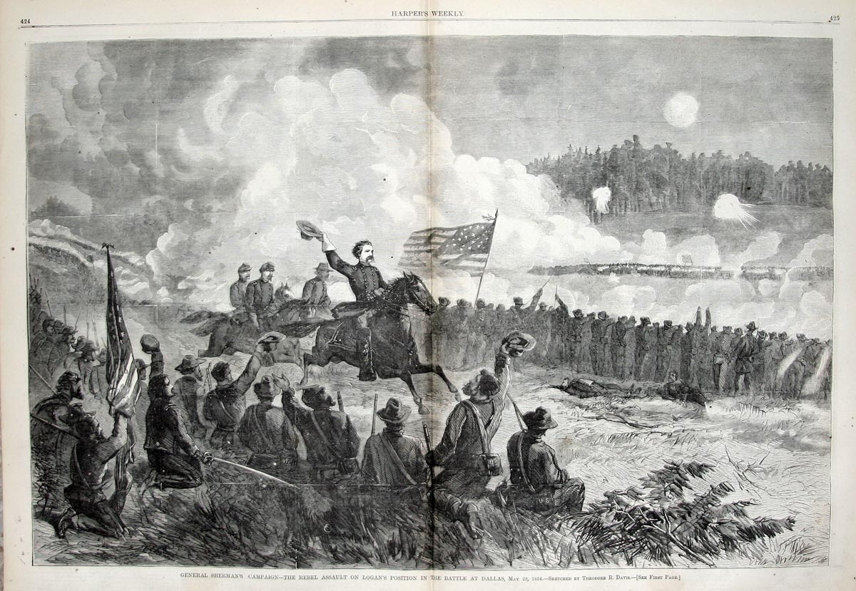 A sketch of General Logan rallying retreating troops during the Battle of Dallas (Georgia) which lasted from May 26-June 4, 1864.