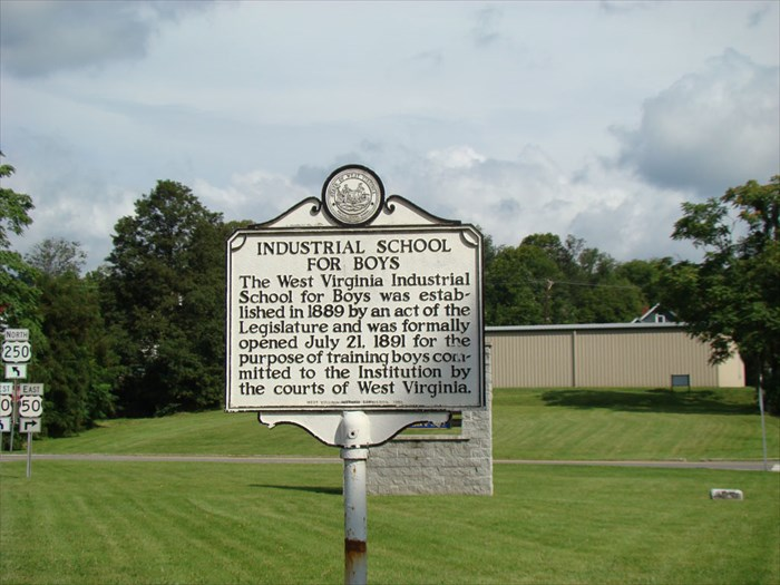 "This historical marker for the ""Industrial School for Boys"" can be found on the premises of the institution."