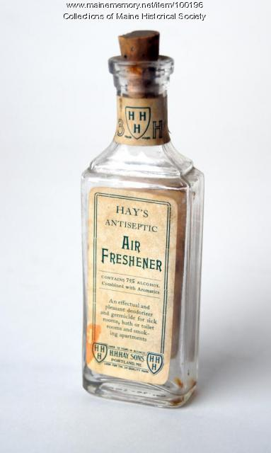 Photograph of a bottle of Hay's Antiseptic Air Freshener, provided by the Maine Historical Society