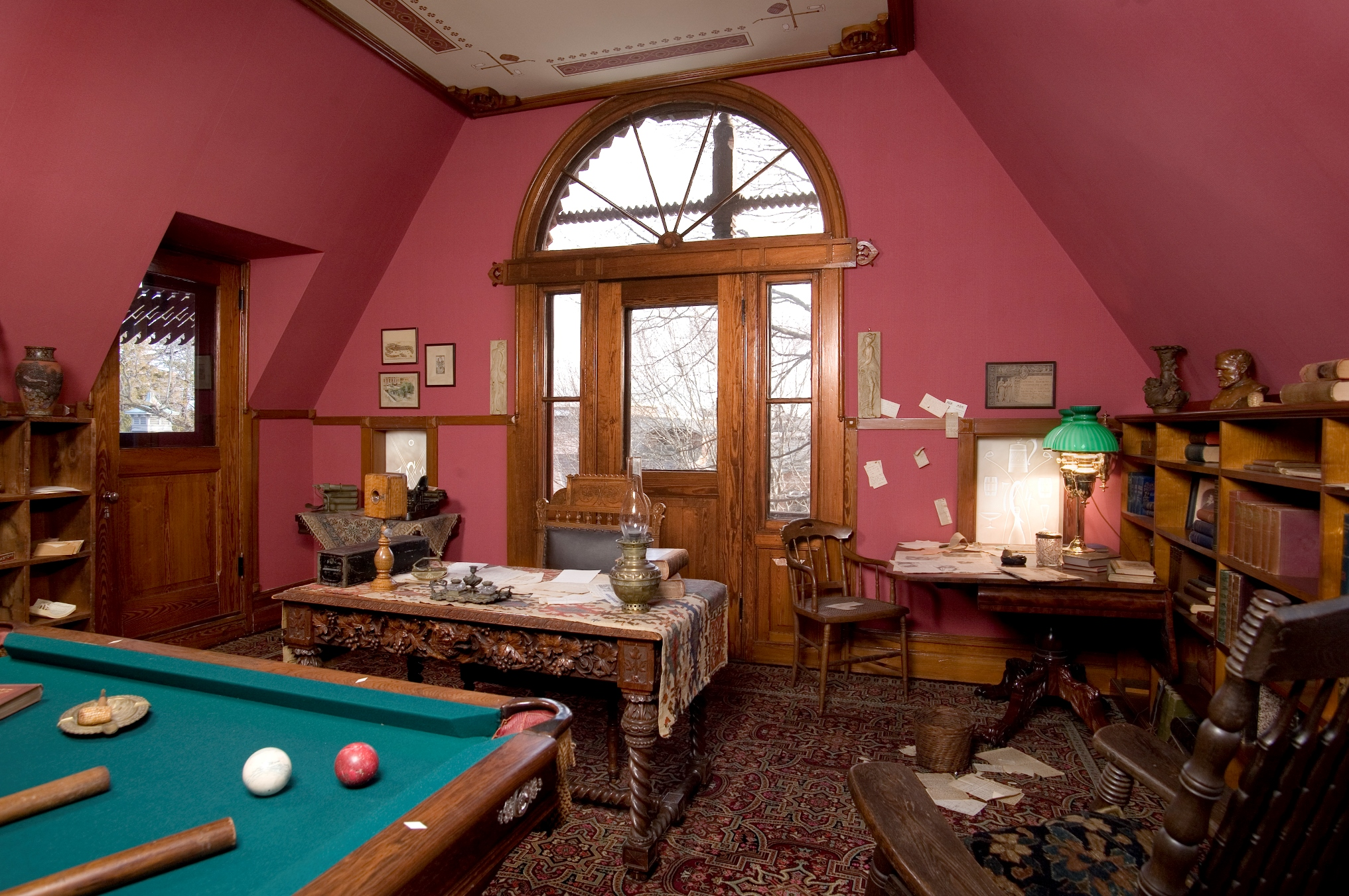 The Billiard Room: Served as Twain's office and study, where he wrote some of his most notable works