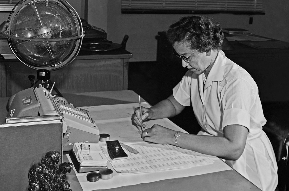 Katherine Coleman Johnson at work