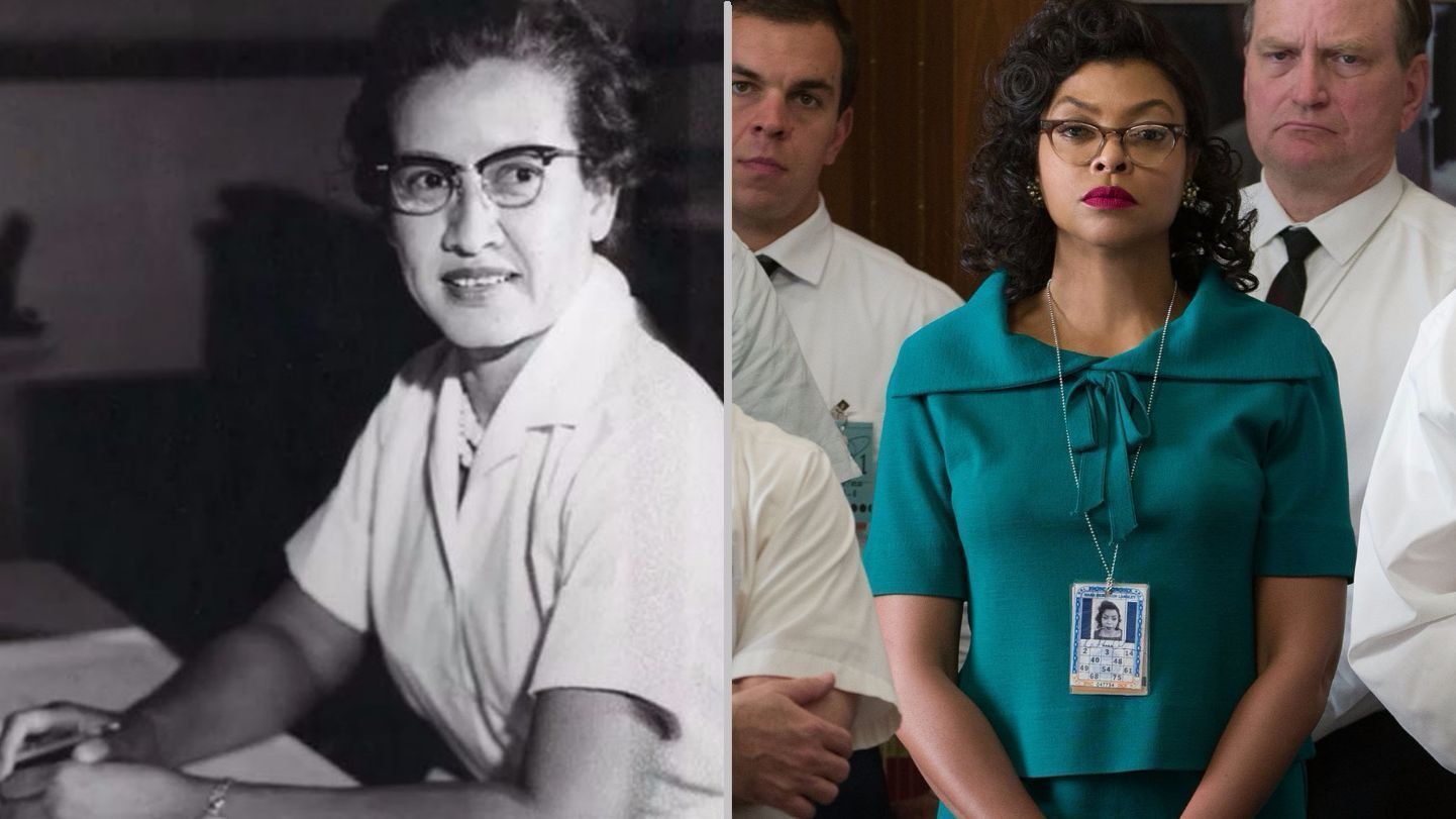 "Katherine Coleman Johnson (left), and the actress who portrayed her in the 2016 major motion picture ""Hidden Figures"", Taraji P. Henson (right)."