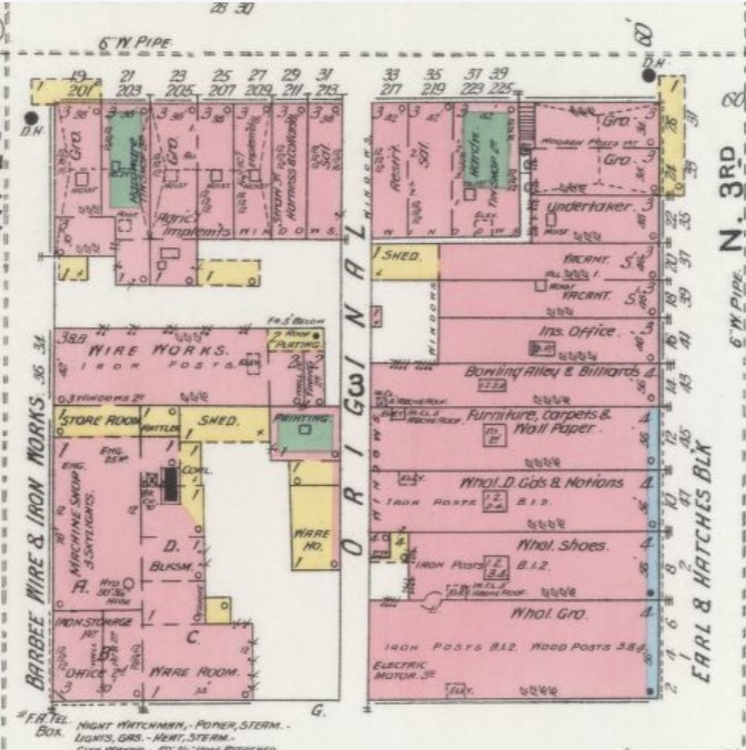 Bowling alley and billiards in Spring, Emerson & Co. Building in 1899 (14 N. Third St.; Sanborn Map Company p. 14)