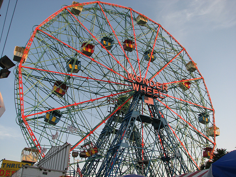 Closeup of the Wonder Wheel