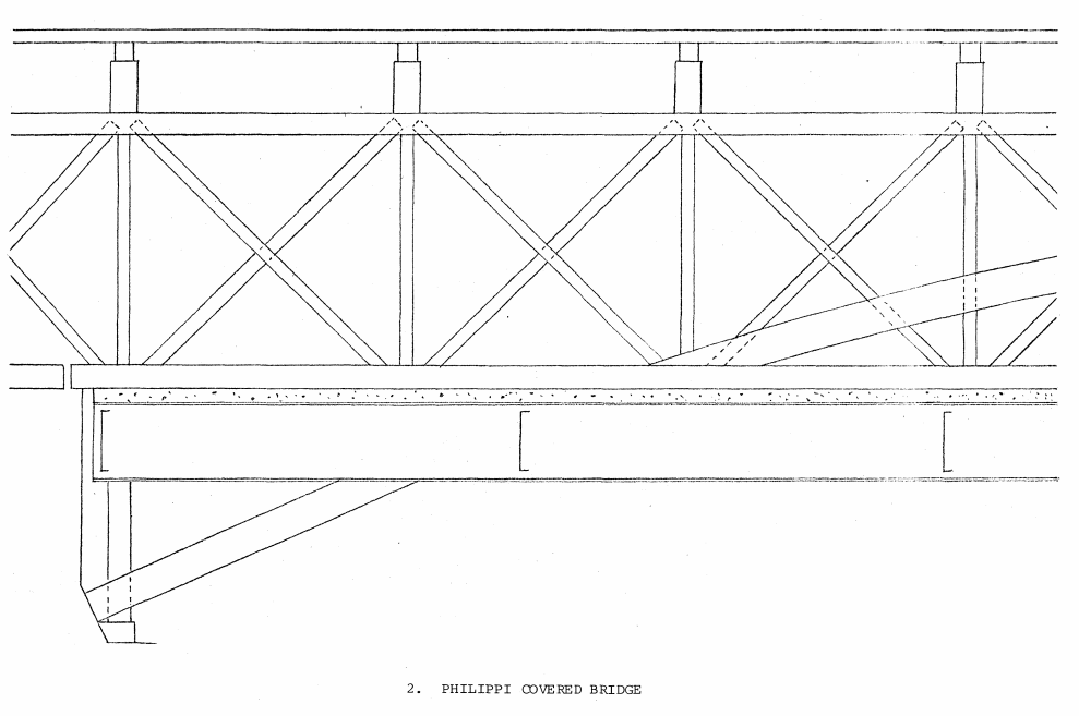 Architectural drawing of the bridge's Burr arch trusses