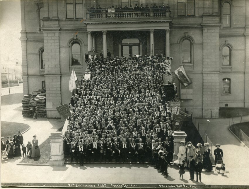 On the 91st anniversary of the founding of the IOOF in the U.S., members of eleven different chapters posed for a photograph on the steps of the Eureka Courthouse