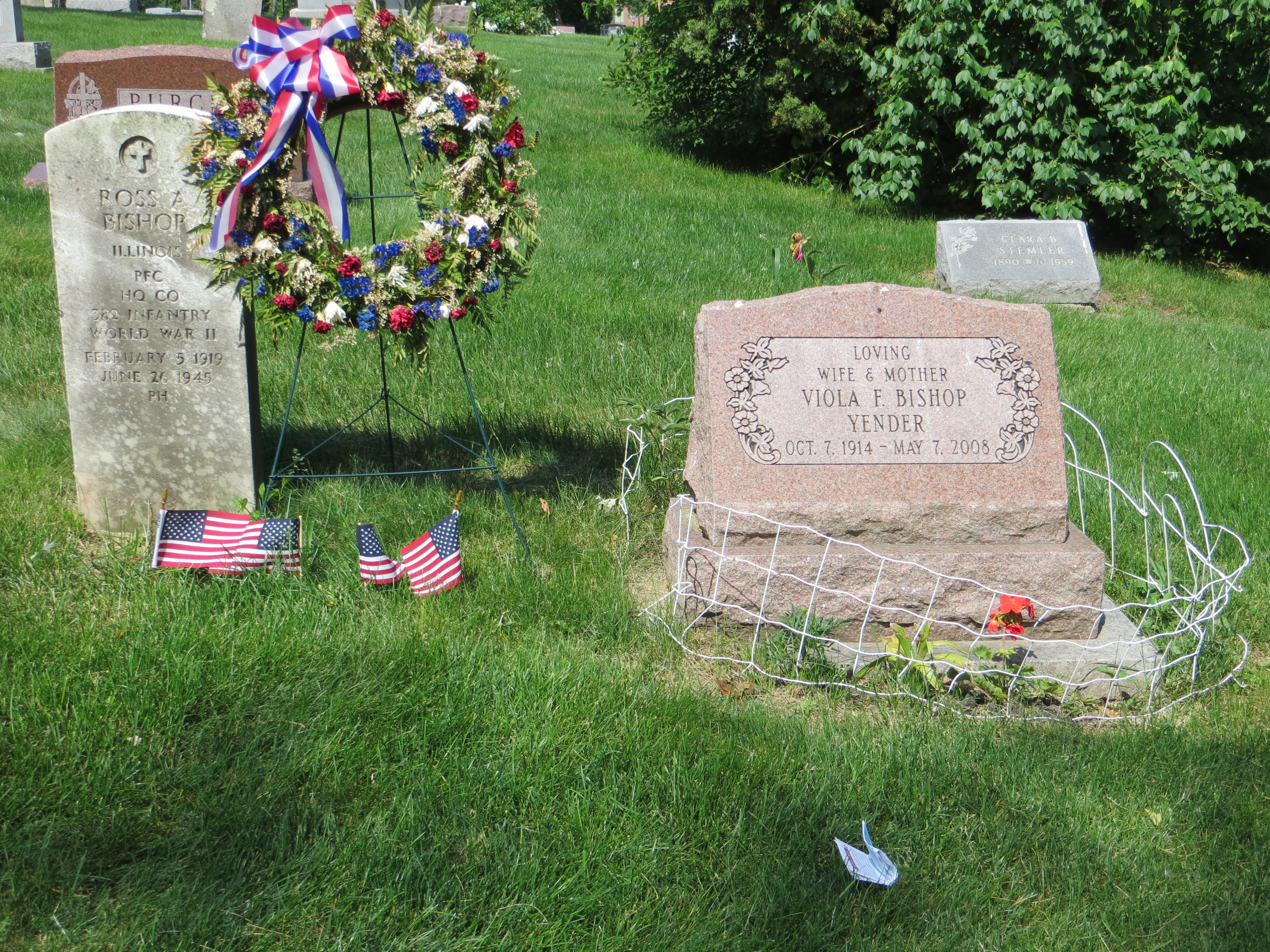 Gravestones of Ross Bishop, Sr. (Lisle's first casualty during WWII) and Viola Bishop Yender (widow of Ross Bishop Sr., and wife of Andrew Yender)