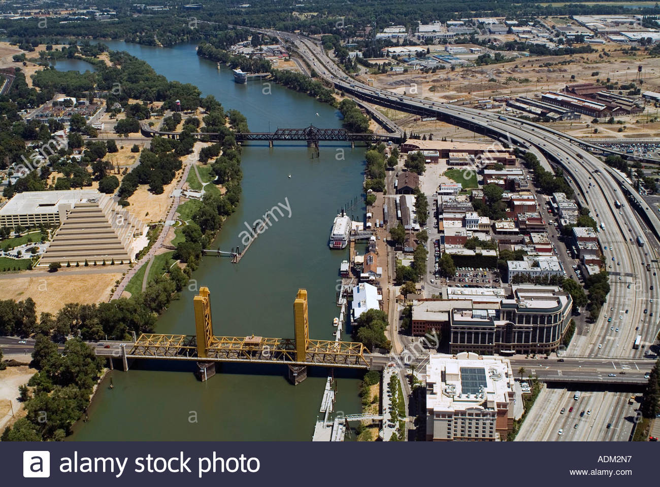 An aerial shot of the Tower Bridge, Sacramento River and the state capital.