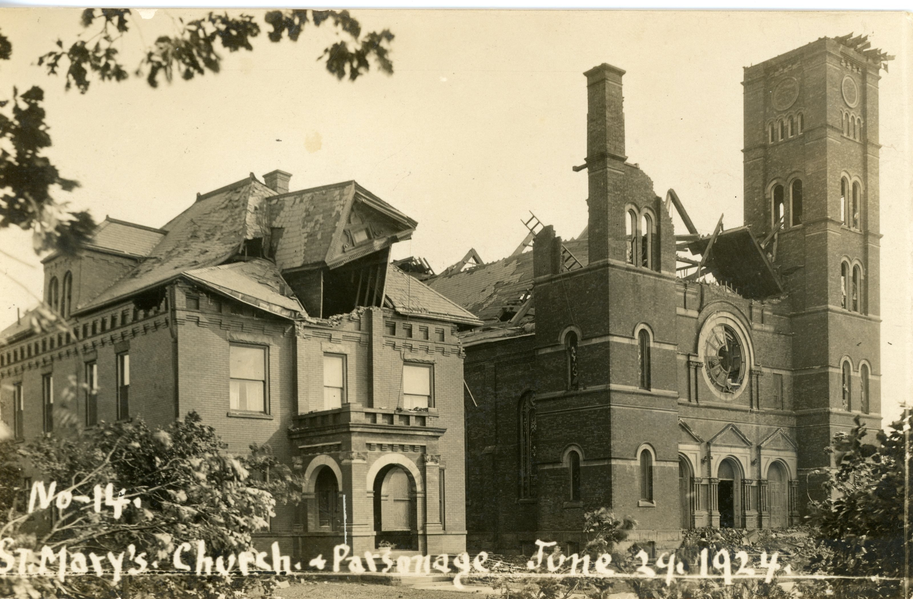 St. Mary's Church after the Lorain Tornado in 1924.