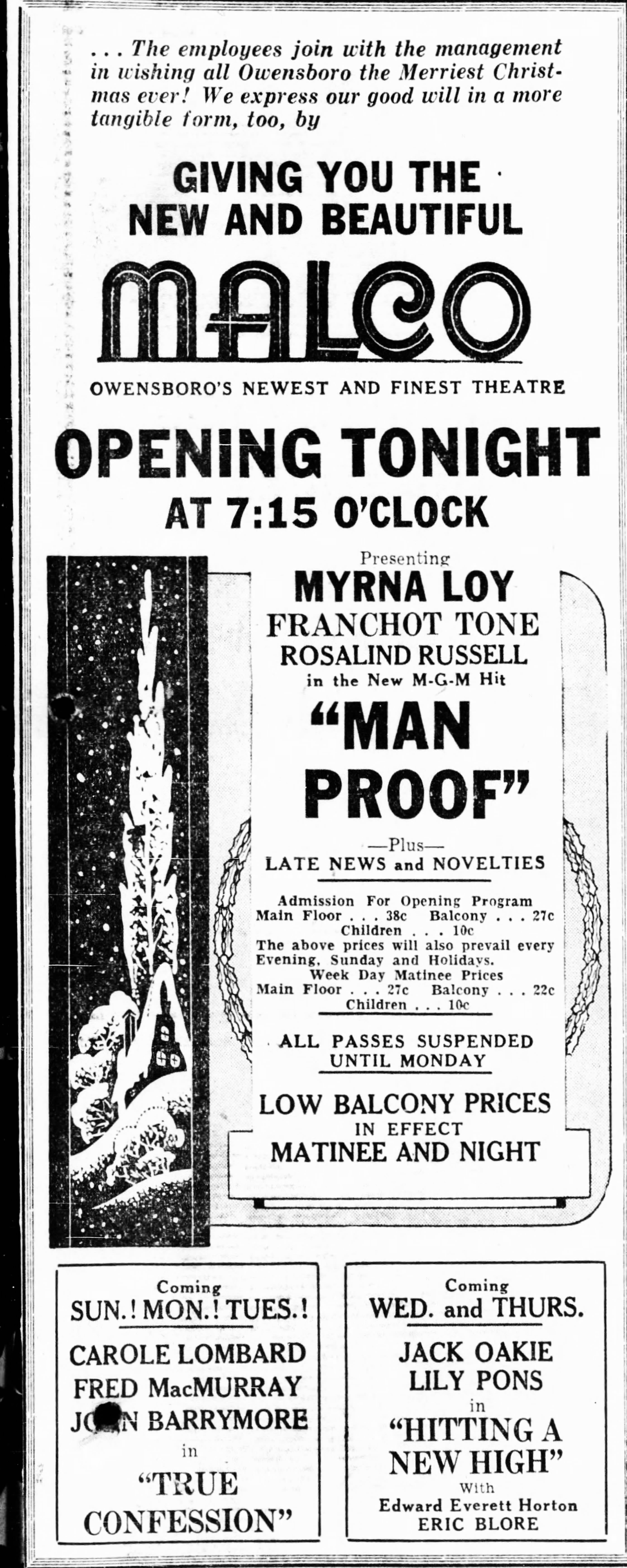 Advertisement for opening the new Malco Theatre, December 24, 1937