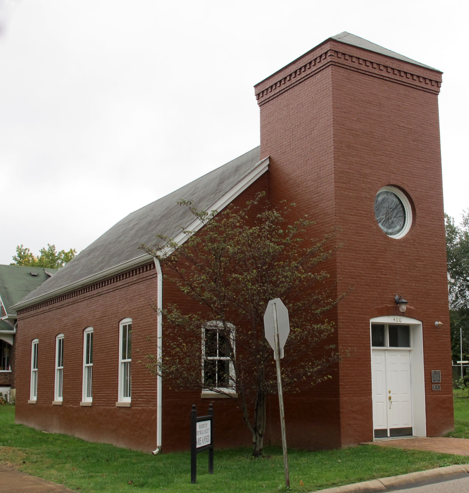 St. John's African Methodist Episcopal (AME) Church at Walnut and Fourth Streets. Built in 1891, it was rehabilitated as an archive for Franklin County Court records.