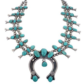 Jewelry on Display: Zuni Silver Squash Blossom Necklace with Turquoise