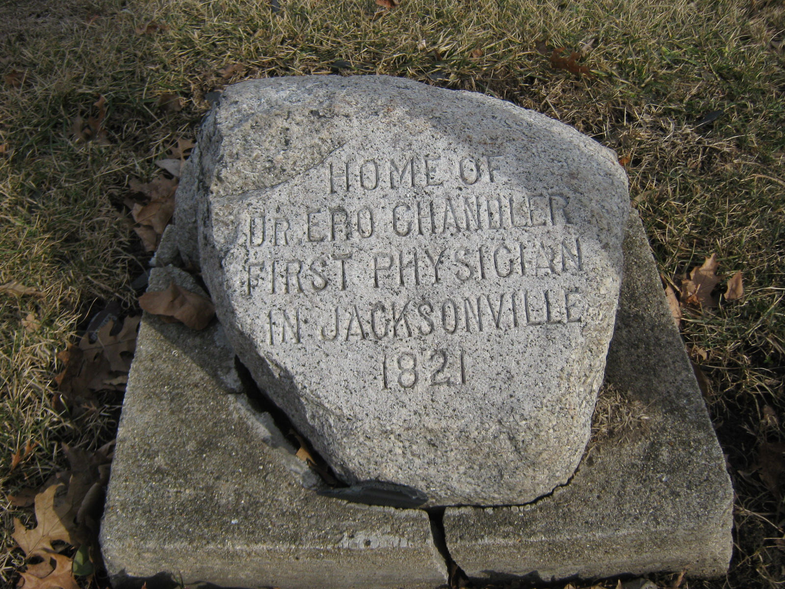 Stone marker of the former home of Ero Chandler.