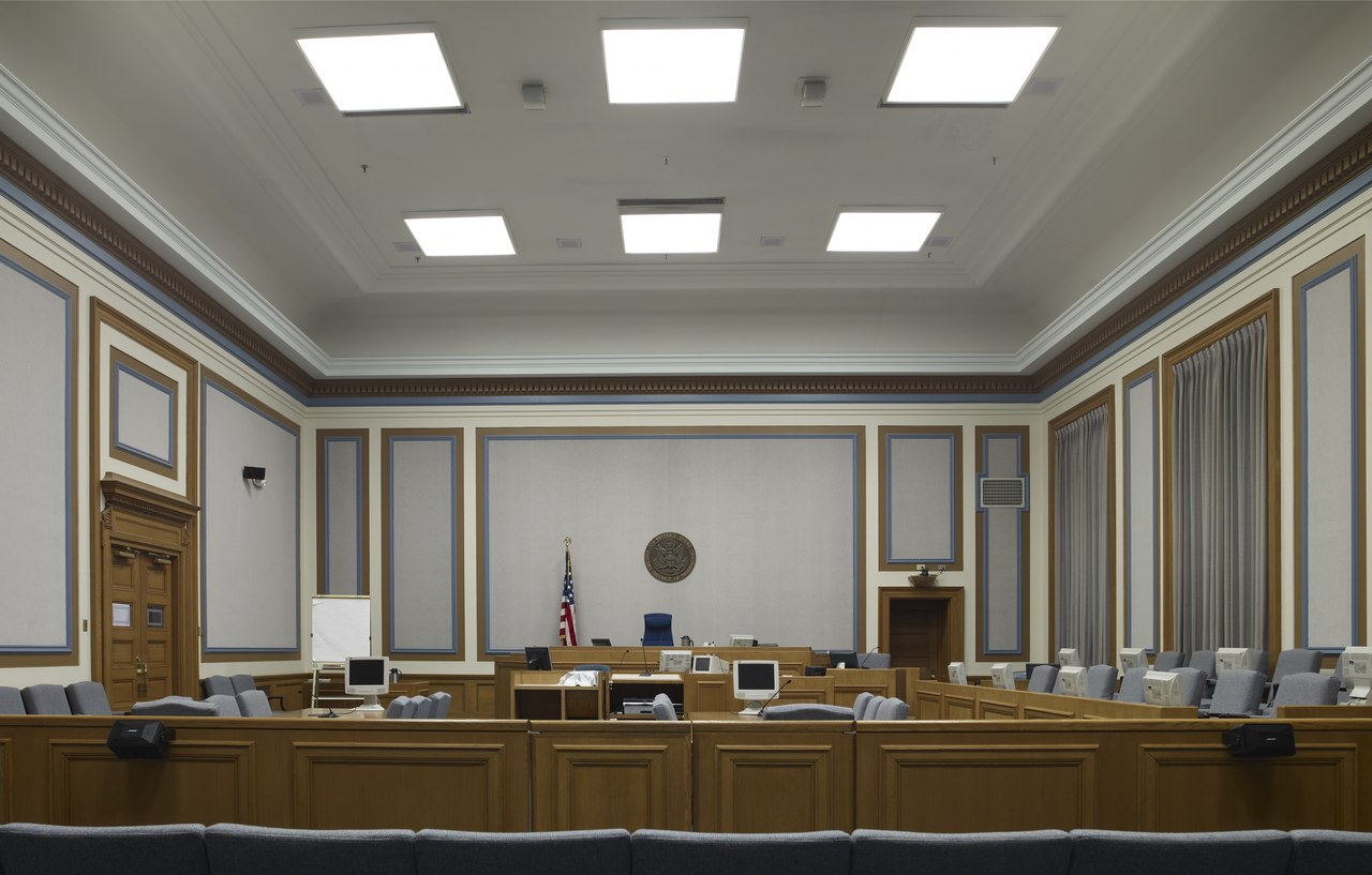 One of the courtrooms in the building.