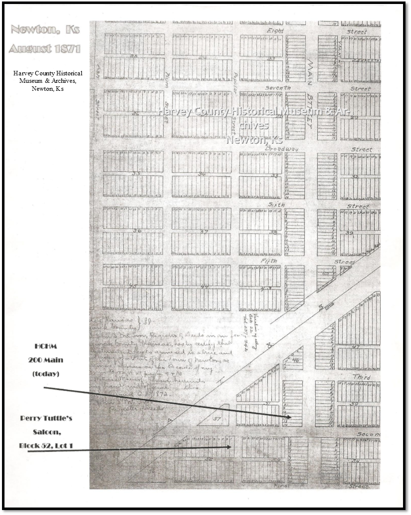 1871 Map of Newton, Ks showing the location of Hide/Hyde Park, Block 52 on the south side of the railroad tracks.