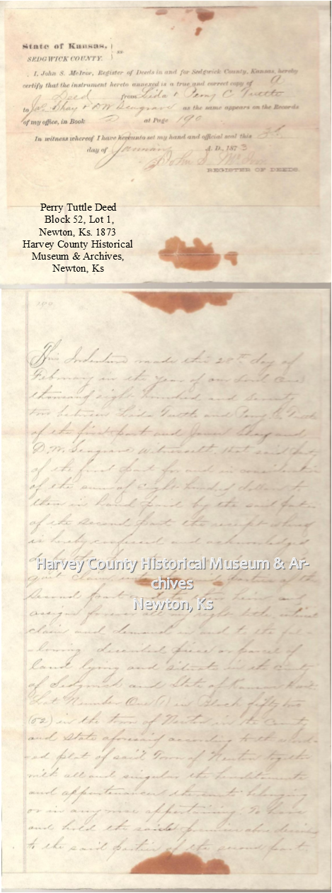 Perry Tuttle's Deed, 1873.
