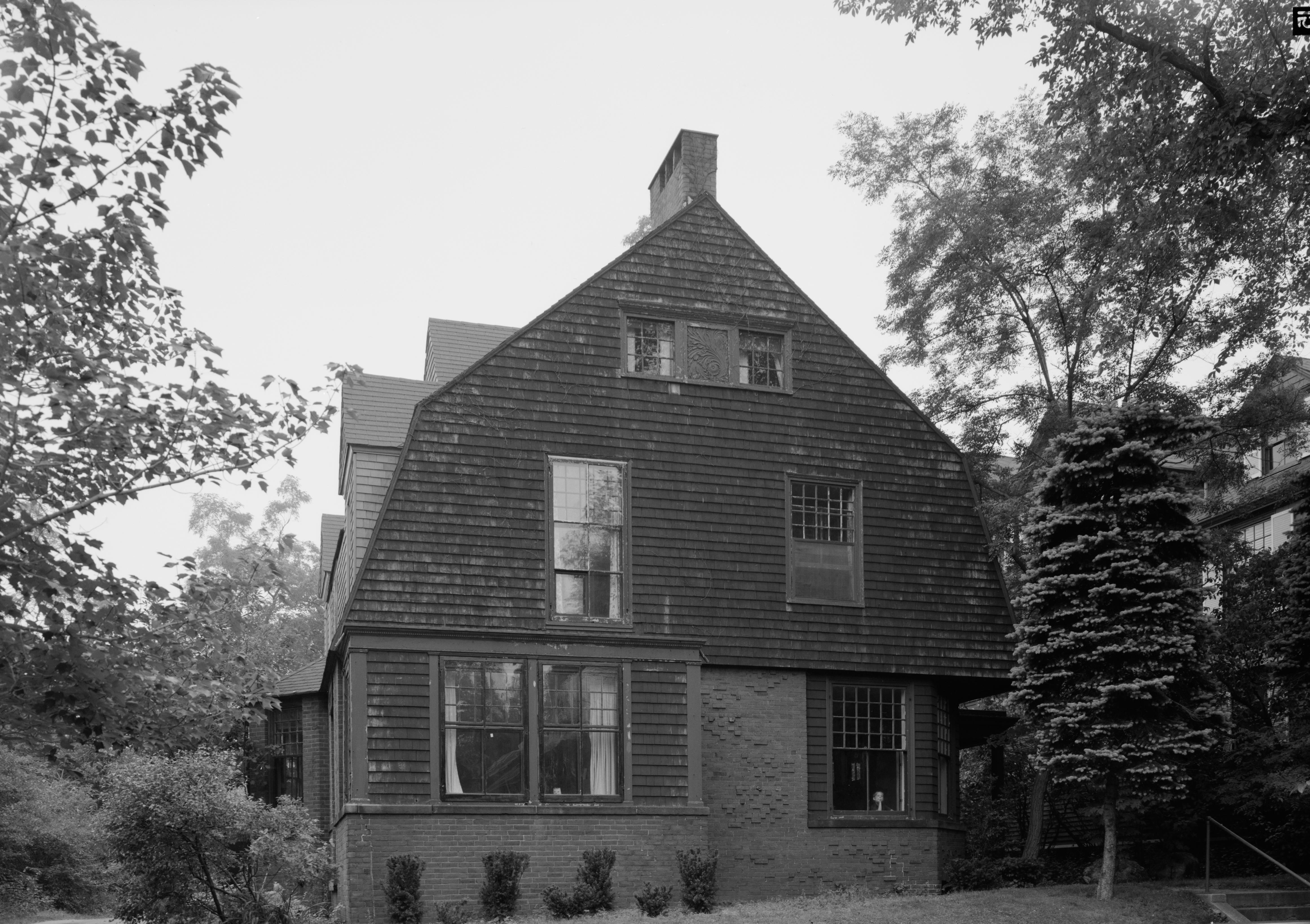 Public domain photograph of the John Calvin Stevens House, Provided by the Library of Congress, Prints and Photograph Division