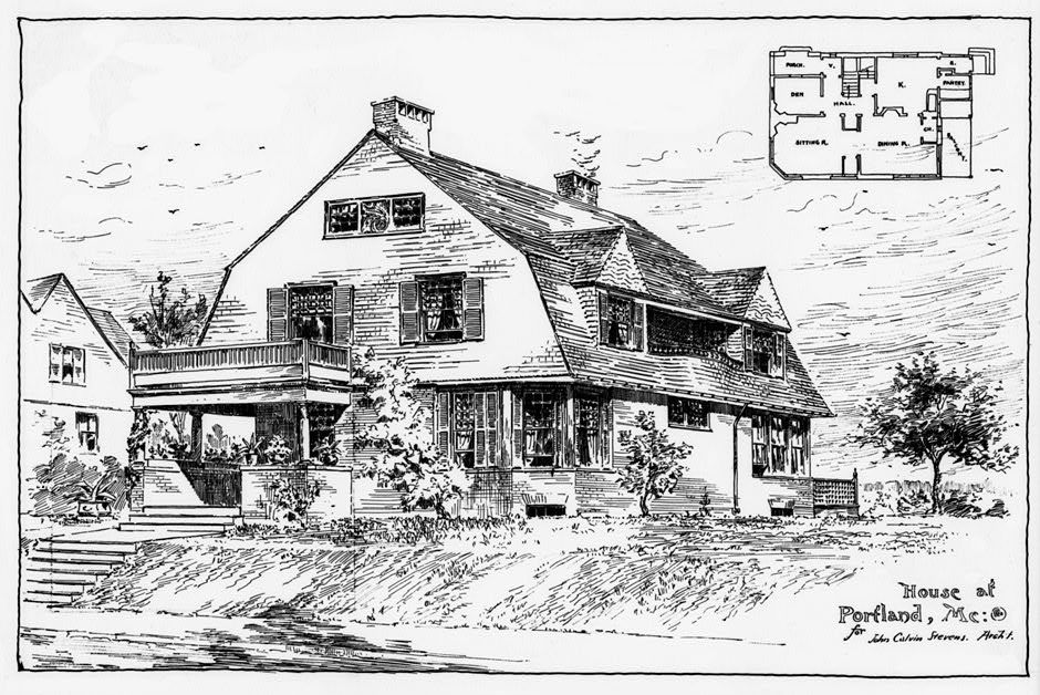 Perspective drawing of John Calvin Stevens House, 52 Bowdoin Street, Portland, Maine (1883-84), John Calvin Stevens, architect. Published in: Albert Winslow Cobb and John Calvin Stevens, Examples of American Domestic Architecture (1889), plate VII.