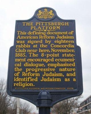 The Pittsburgh Platform Historical Marker