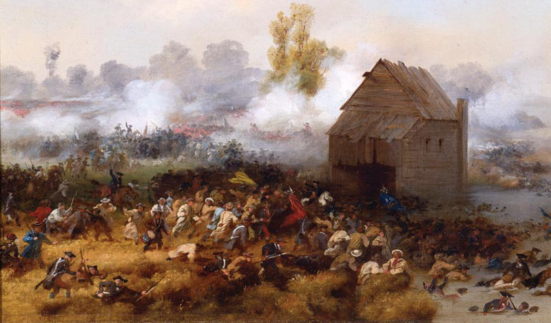 """""""The Battle of Long Island"""" by Alonzo Chappel (1858) depicts the stand of the """"Maryland 400"""""""