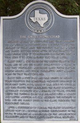 The Gault Homestead Historical Marker