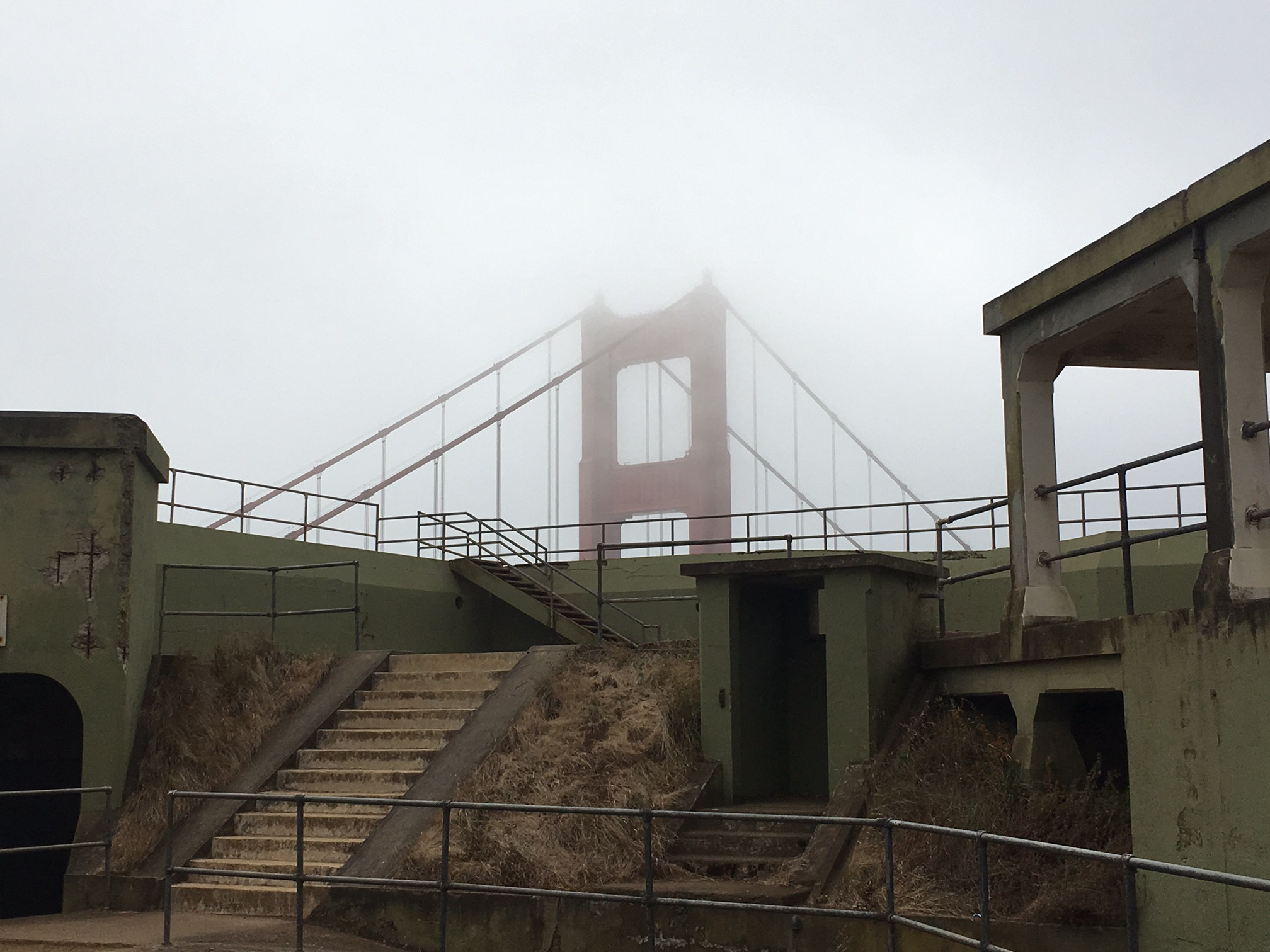 The view of the Golden Gate bridge from inside Battery Spencer. California State Military Museum (linked below) includes more information about weapons and building of Battery Spencer and profiles of few of the people who served there.