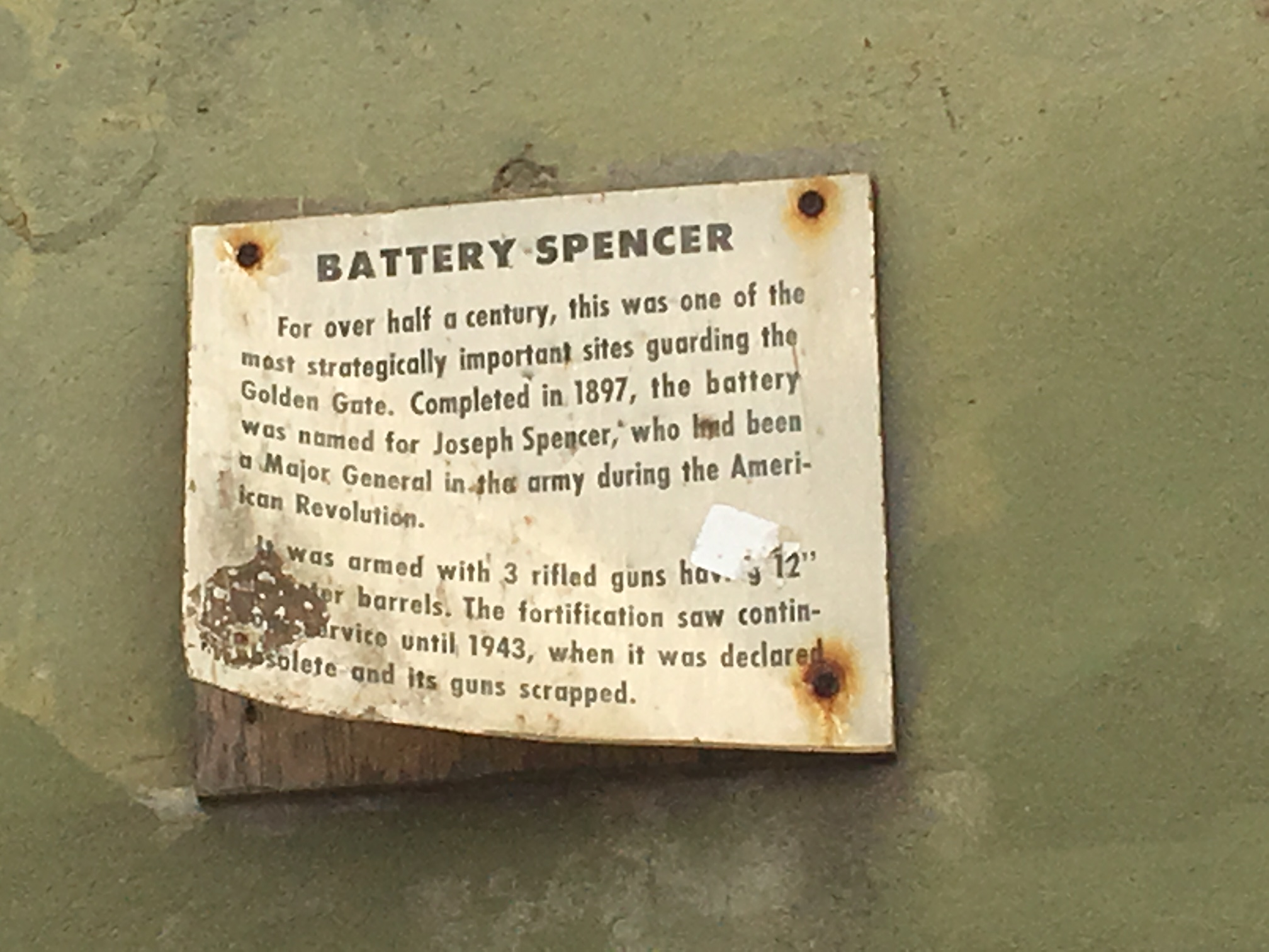 A closer view of one of the signs describing Battery Spencer.