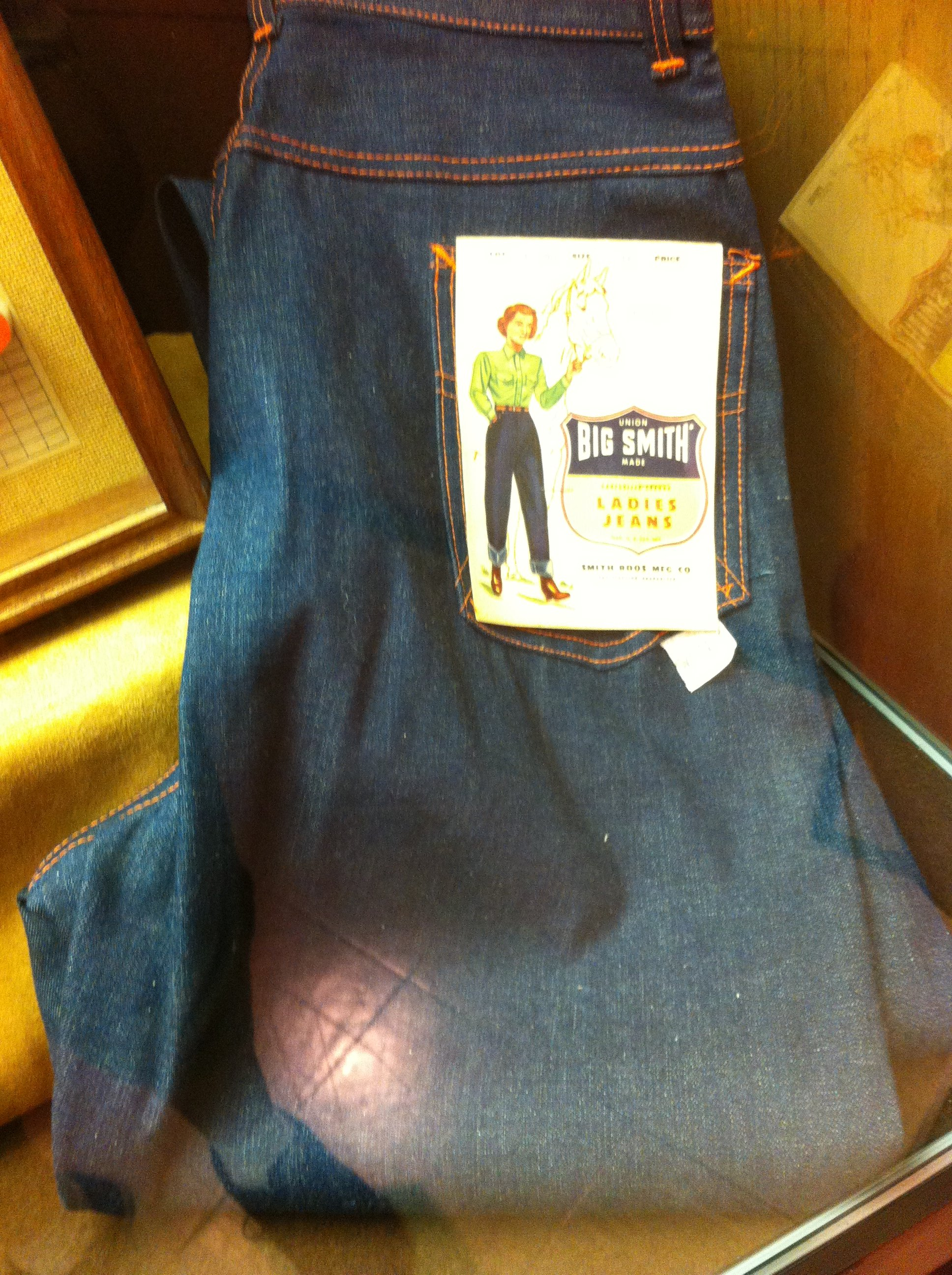 Big Smith was noted for its overalls and other denim casual wear through its decades of operation. This pair of ladies jeans, displayed in the 175th Anniversary of Carthage 2017 exhibit, were purchased by Marian Powers Winchester.