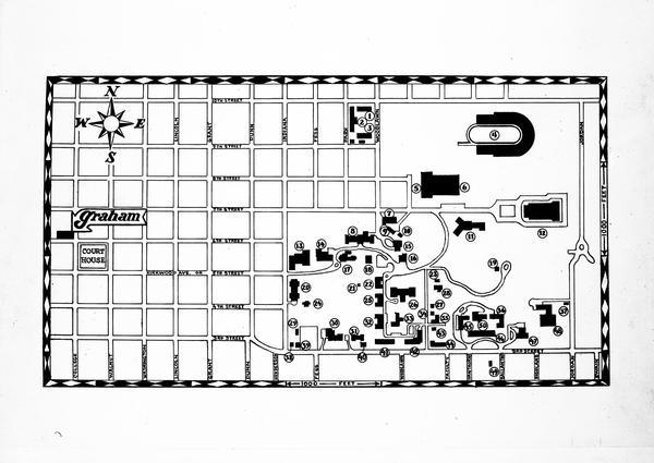 Map of Graham Hotel in relation to campus