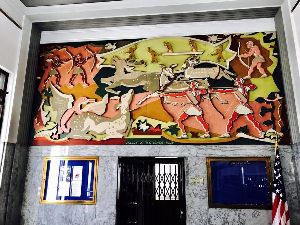 """Valley of the Seven Hills,"" painted wood relief mural by Ryah Ludins (1943)"