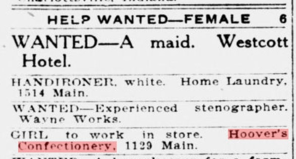 "Help wanted ad for a ""girl to work in store"" of Hoover Confectionery in 1921 (Richmond Palladium, 6-10-1921, p. 13)"