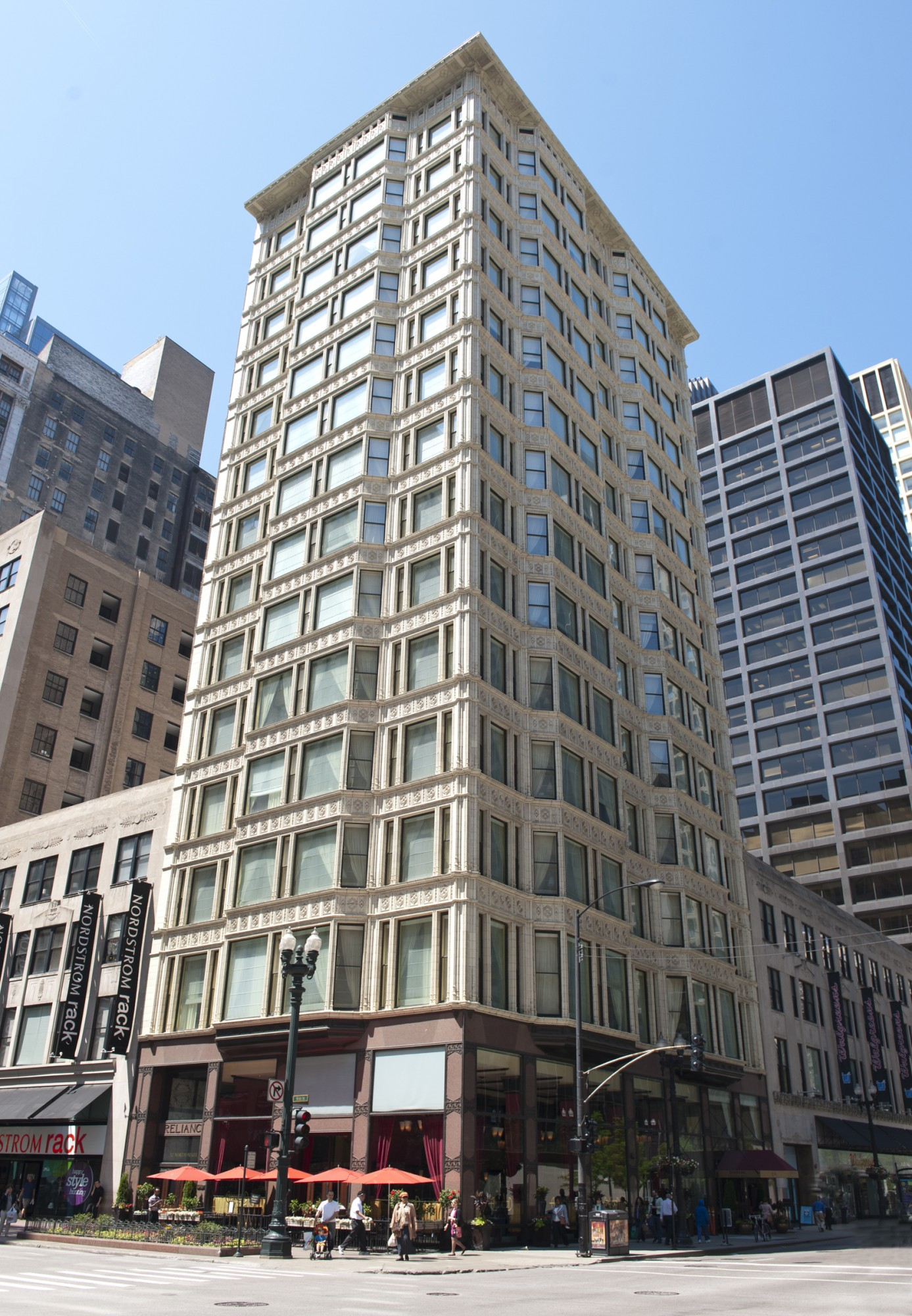The Reliance Building was completed in 1895 by the Burnham and Root architectural firm.