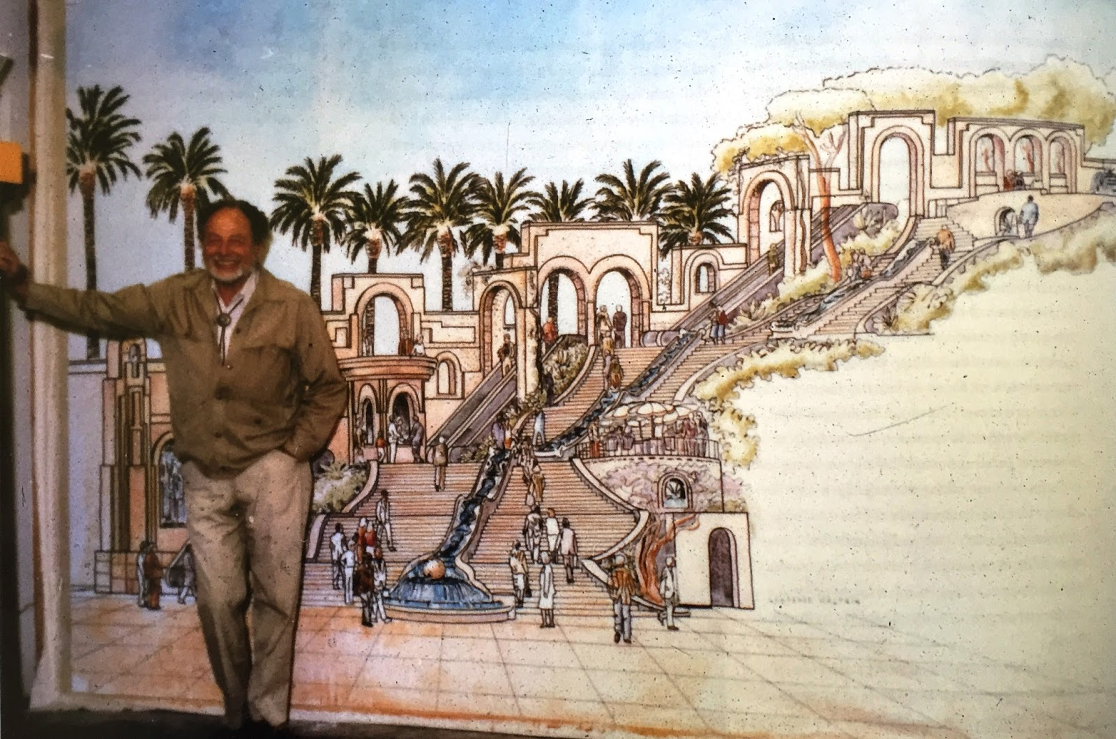Lawrence Halpin with a drawing of the Steps.