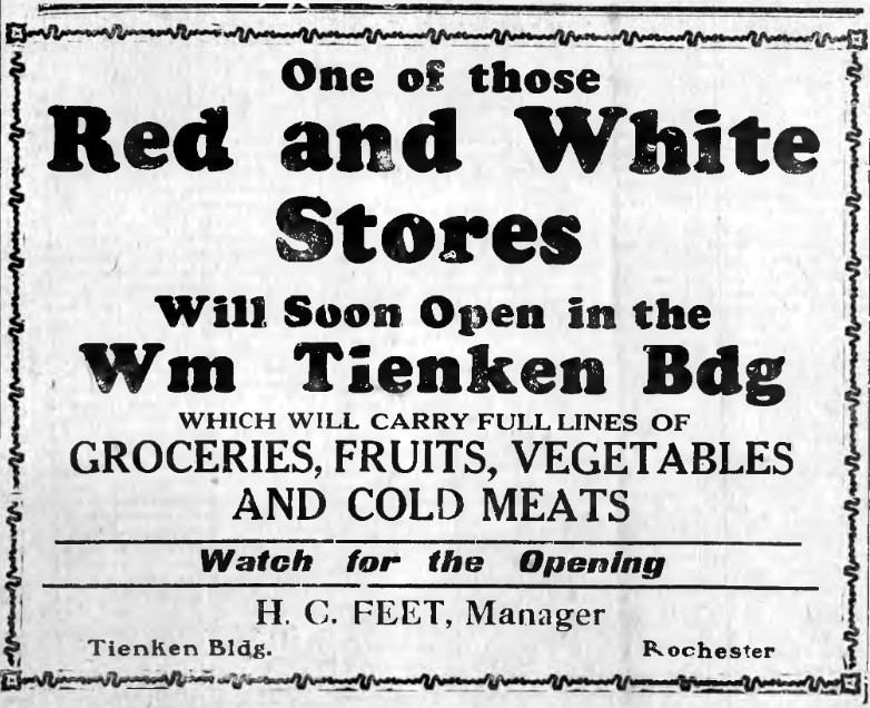 Newspaper announcement of opening of Red and White grocery in the William Tienken Building, 1932